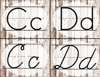 Distressed White Wood Alphabet Cards / Banner / Posters (Print and Cursive)