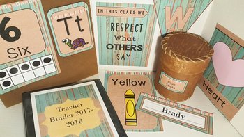 Distressed Wood Teal/Burlap Classroom Decor Set (Editable)