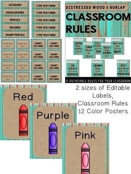 Distressed Wood Teal and Burlap Classroom Decor Set (Editable)