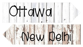 Distressed Wood City Location Signs-Travel Theme