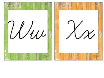 Distressed Wood Cursive Alphabet