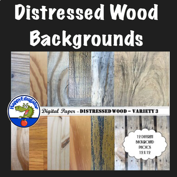 Distressed Wood - Rustic Wood Digital Paper Backgrounds for Shabby Chic - Set 3