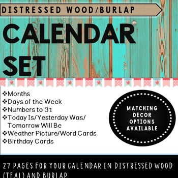 Distressed Wood Teal and Burlap Calendar Set
