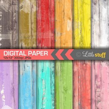 Distressed Wood Texture Digital Paper
