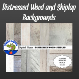 Distressed Wood - Whitewashed Shiplap Digital Paper Backgrounds for Shabby Chic