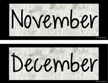 Distressed Wood calendar months