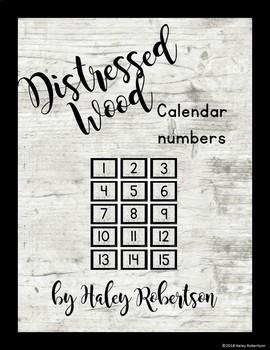 Distressed Wood calendar numbers EDITABLE