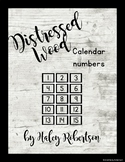 Distressed Wood calendar numbers EDITABLE
