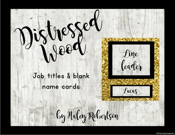 Distressed Wood class jobs chart pieces EDITABLE