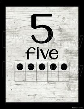 Distressed Wood number posters with ten frames #1-20