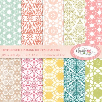 Distressed damask digital papers