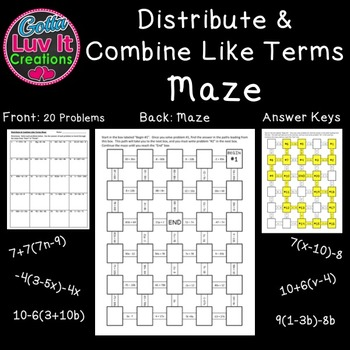 Distribute & Combine Like Terms Includes Negatives - 2 Mazes