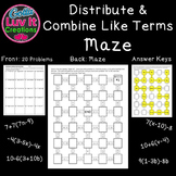 Distributive property and  combine like terms includes negatives 2 Mazes