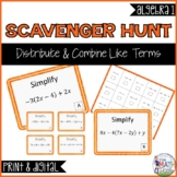 Distribute & Combine Like Terms Scavenger Hunt