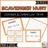 Distribute & Combine Like Terms Scavenger Hunt