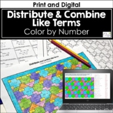 Distribute and Combine Like Terms Color by Number