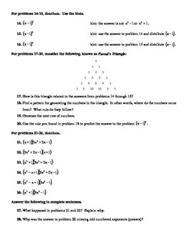 Distributing Polynomials Worksheet