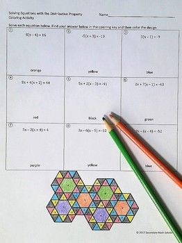 Solving Equations using the Distributive Property Coloring Activity (A5A)