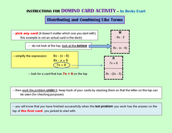 Distributing and Combining Like Terms Domino Activity