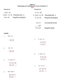 Distributing and Combining Like Terms Worksheet #1