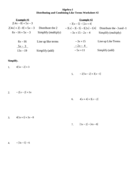 Distributing and Combining Like Terms Worksheet #2 by Lexie | TpT