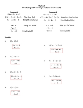 Distributing and Combining Like Terms Worksheet #2