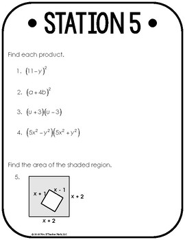 Distributing and Factoring Polynomials Stations