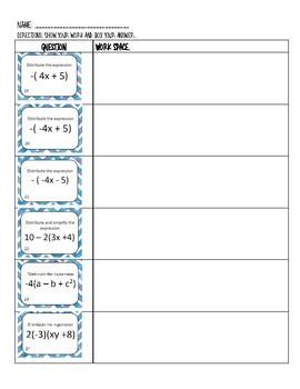 Distributing with Negatives Worksheet (24 problems)
