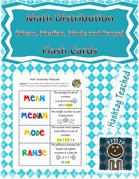 Distribution Vocabulary Flash Cards (Mean, Median, Mode and Range)