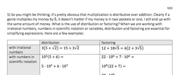 Distribution and Factoring (NS9): 7.EE.A.1
