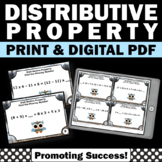 Distributive Property Multiplication Task Cards, 6th Grade Math Review