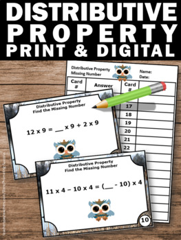 Distributive Property of Multiplication Task Cards, 6th Grade Math Review