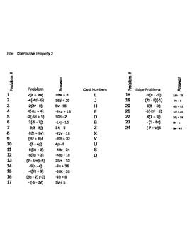 Matching Game - Algebra - Distributive Property 2