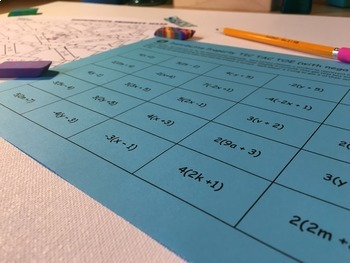Distributive Property Activity and Game for 6th grade, 7th grade, and 8th grade