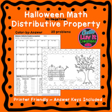 Halloween Fall Distributive Property No Negatives Color by Number Coloring Page