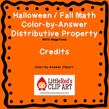 Halloween Fall Distributive Property (Negatives) Color by Number Coloring Page