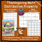 Thanksgiving Math: Distributive Property Maze & Color by N