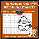Thanksgiving Fall Distributive Property No Negs Color by Number Coloring Page