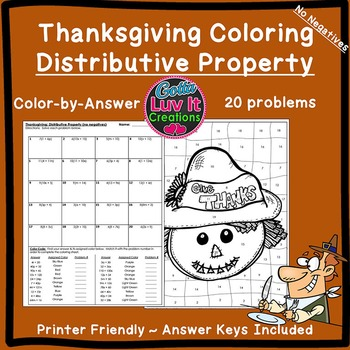 Thanksgiving Fall Distributive Property Color by Number Co