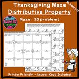 Thanksgiving Fall Distributive Property No Negatives Maze