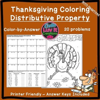 Thanksgiving Math: Distributive Property Maze & Color by Number Coloring Page