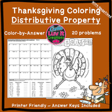 Thanksgiving Fall Distributive Property Negatives Color by