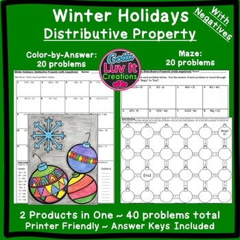 Christmas Math Distributive Property Maze & Color by Numbe