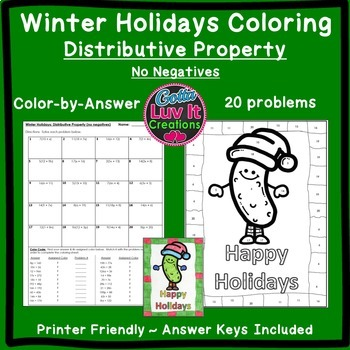 Christmas Math Distributive Property Maze & Color by Number Christmas Activity