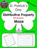 St. Patrick's Day Distributive Property With Negatives Maze