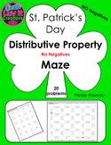 St. Patrick's Day Distributive Property No Negatives Maze