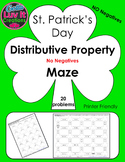 St. Patrick's Day Distributive Property No Negatives Maze