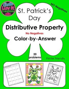 St. Patrick's Day Distributive Property No Negatives Color-by-Answer