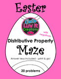 Easter Spring Distributive Property With Negatives Maze