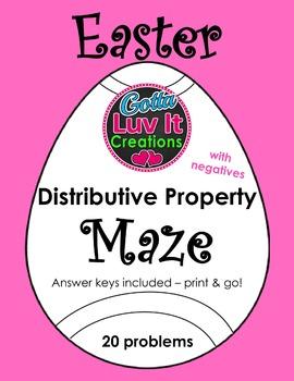 Easter Spring Distributive Property With Negatives Maze